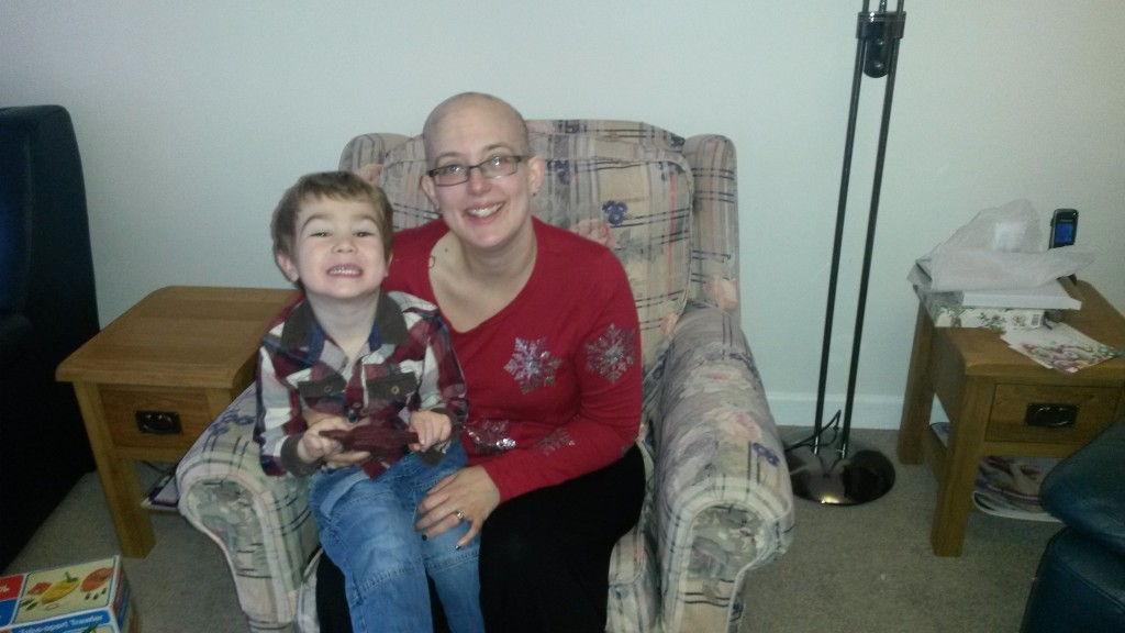 Holly and Miles at Christmas, after 2 rounds of chemo